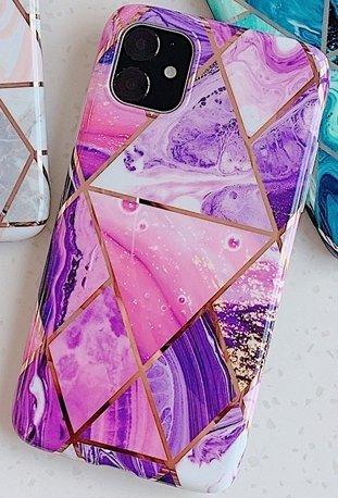 Mobilskal till iPhone XR med rosa marmormönster