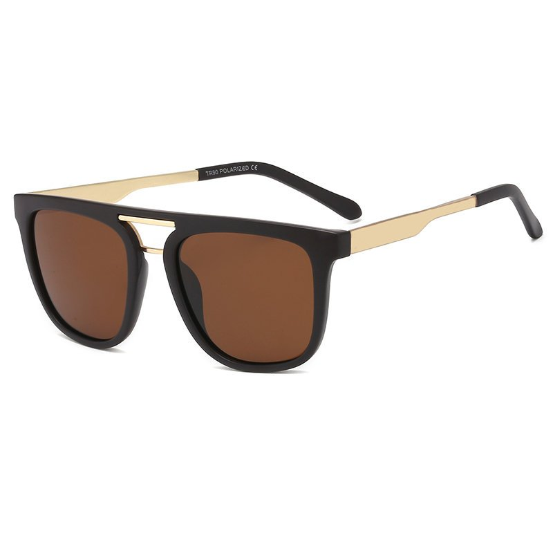 Frame Double Bridge Flat Top Polarized Solglasögon