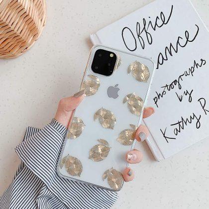 Mobilskal till iPhone X/XS med citroner i guld 3D