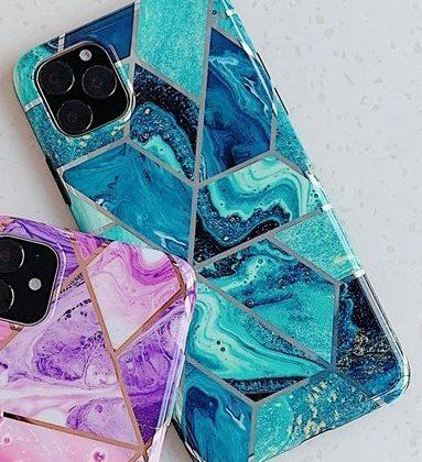 Mobilskal till iPhone XR med blått marmormönster
