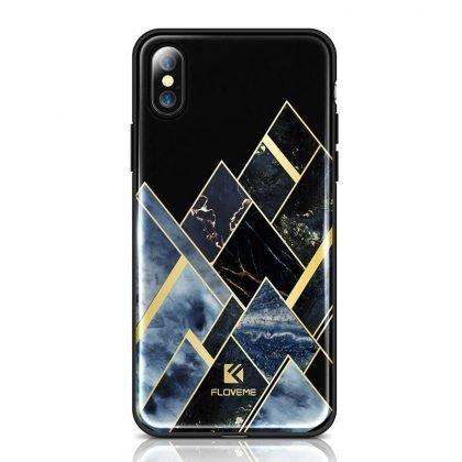 iPhoneX/XS mobilskal silicon lyx guld marmor