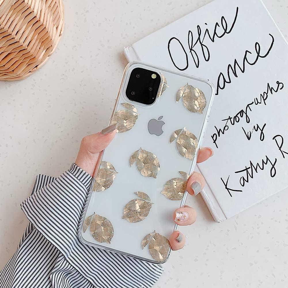 Mobilskal till iPhone XR med citroner i guld 3D