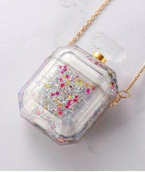Parfymflaska för airpod-fodral med flytande glitter silver