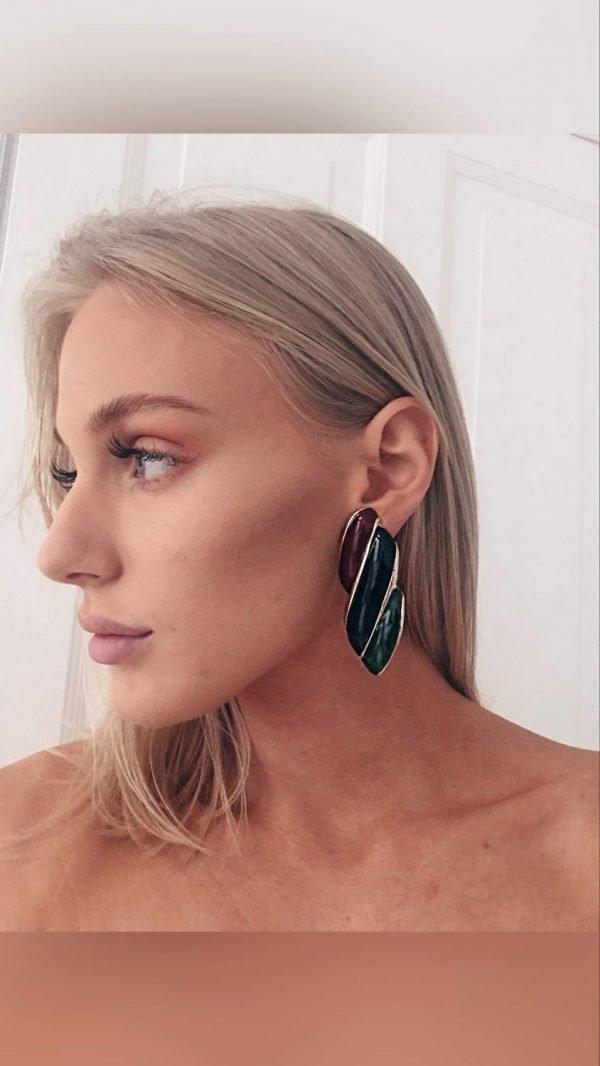 Örhänge earring guld jewelry diamond red black green pattern