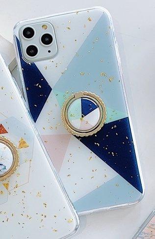 iPhone11 skal geometriska former mönster guldflingor ringhållare