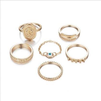 Bohemian Gold Color Eye Flower Rings ringar guld set