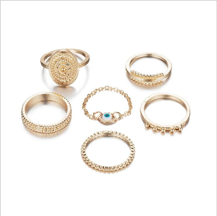 Bohemian Gold Color Eye Flower Rings ringar guld set
