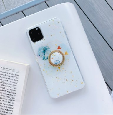 iPhone11 skal vitt med guldflingor ringhållare