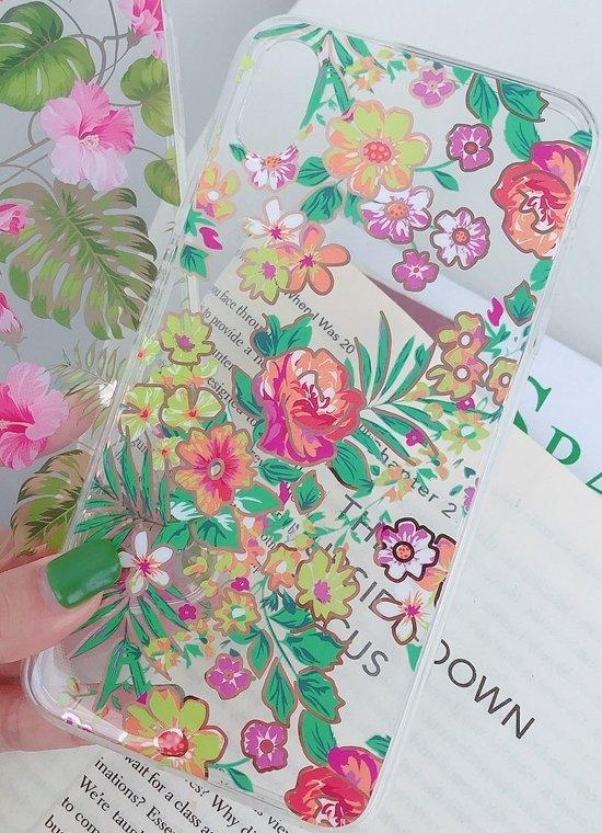 Mobilskal till iPhone11 i vackert blomstermönster rosa & grönt