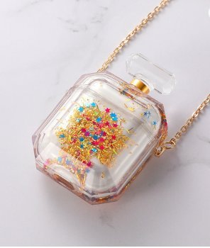 Parfymflaska för airpod-fodral med flytande glitter guld