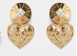 Örhänge earring guld jewelry diamond heart hjärta