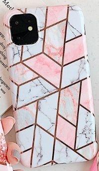 Mobilskal till iPhone 11 olika nyanser av rosa marmormönster