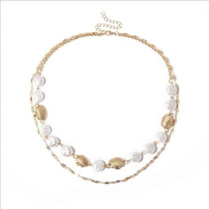 Pearl Choker Necklace Collar Statement pärla halsband snäcka