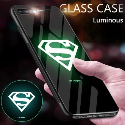 Iphone X/XS case ultra slim luminous in the dark superman