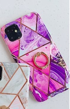 Mobilskal till iPhone XR med rosa marmormönster + ringhållare