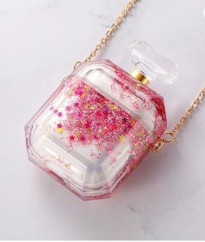 Parfymflaska för airpod-fodral med flytande glitter rosa