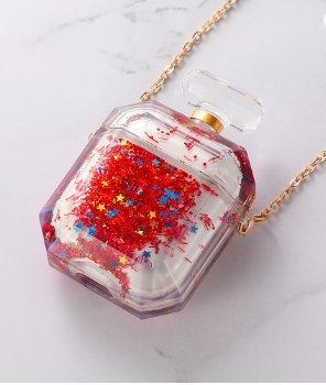 Parfymflaska för airpod-fodral med flytande glitter röd