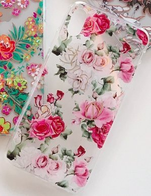 Mobilskal till iPhone X/XS i vackert mönster med rosa rosor