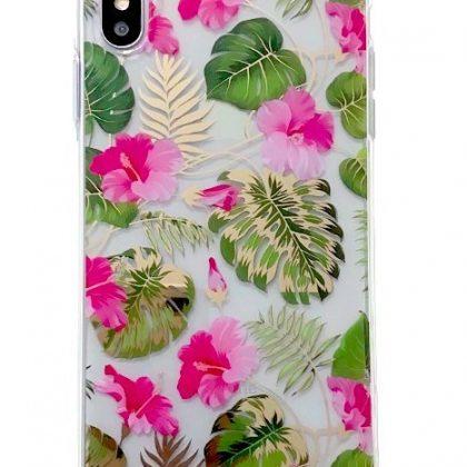 Mobilskal till iPhoneXR i vackert blomstermönster rosa & guld