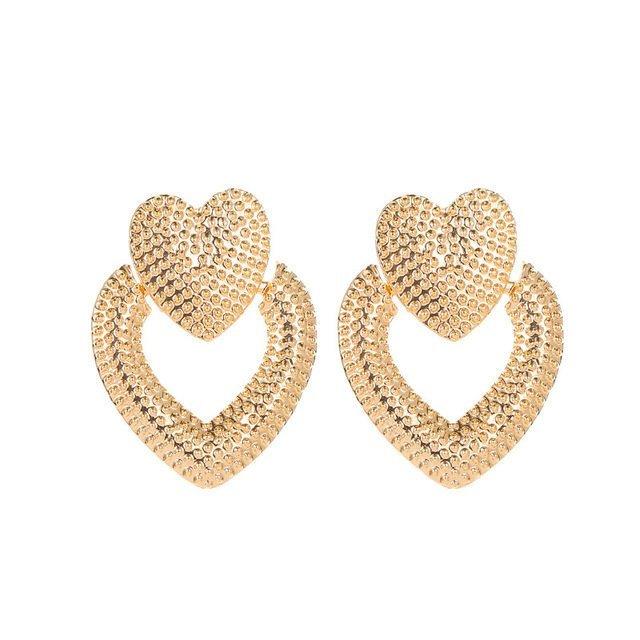 Örhänge earring guld jewelry diamond hearts