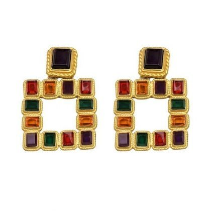 Örhänge earring guld jewelry square multicolour