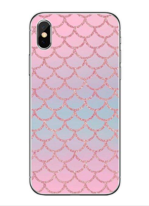 Mobilskal till iPhone11 med rosa glittrigt fiskfjällsmönster