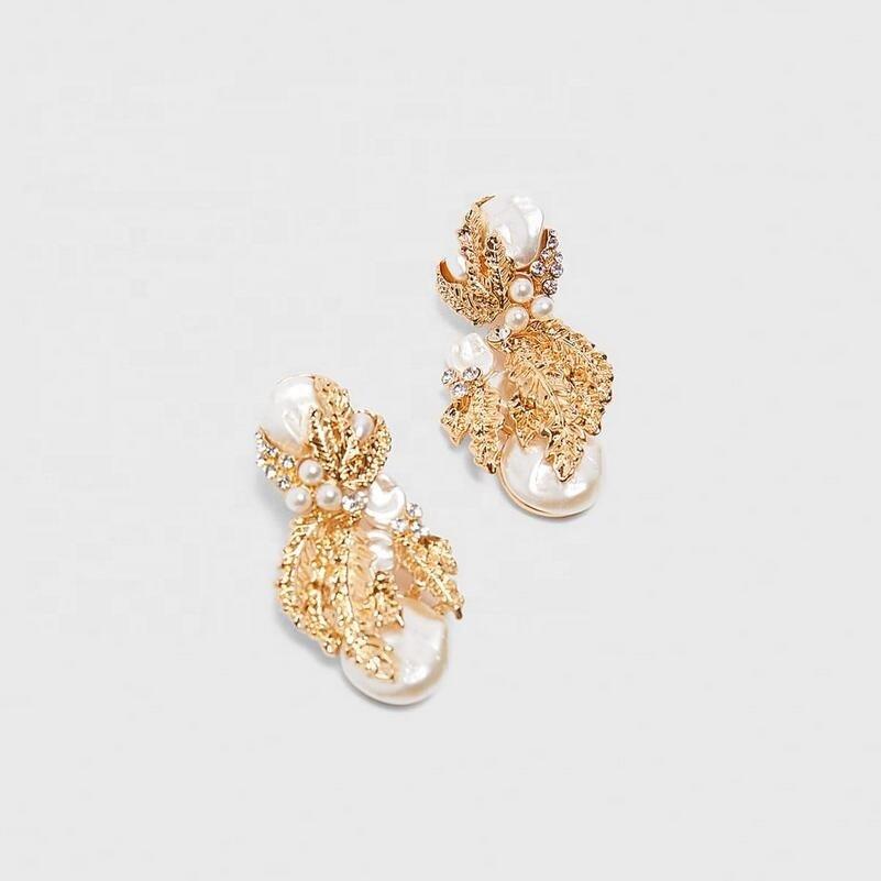Øreringe guld smykker diamantperle