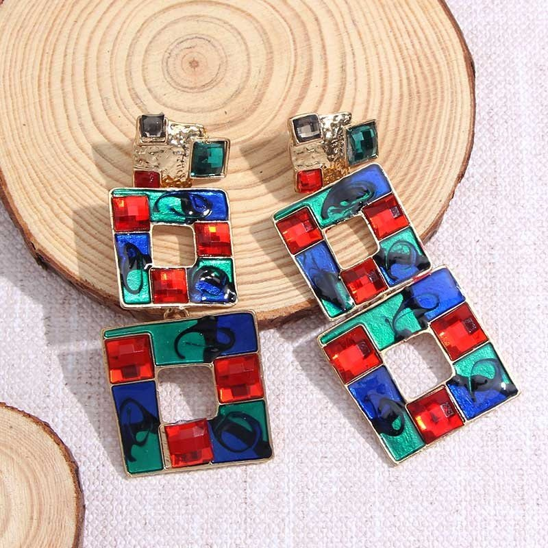 Örhänge earring guld jewelry square