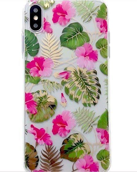 Mobilskal till iPhone X/XS i vackert blomstermönster rosa & guld
