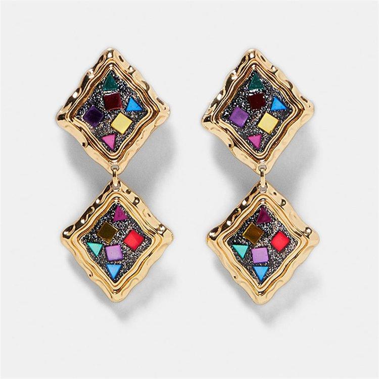 Örhänge earring guld jewelry diamond square multicolour