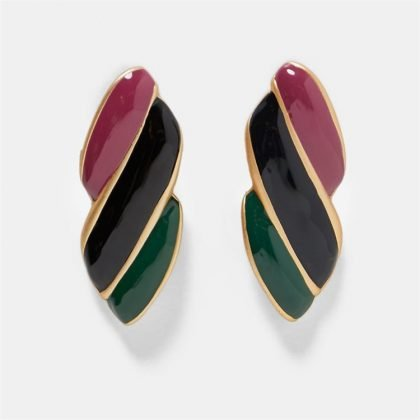 Örhänge earring guld jewelry diamond red black green pattern