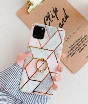 Mobilskal till iPhone 11 med olika marmormönster + ringhållare