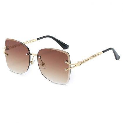 Fashion Tinted Lens Sun glasses Women Rimless Solglasögon UV400