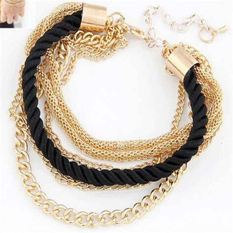 Multilayer Charm Bracelet Exaggerated Gold Chain