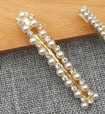 Hårklämma med strass och pärlor 8cm