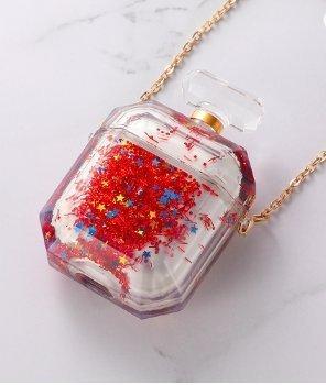 Parfymflaska för airpod-fodral med flytande glitter