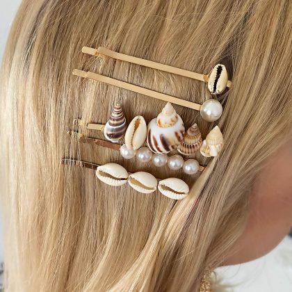 5-pack hårnålar med snäckor och pärlor
