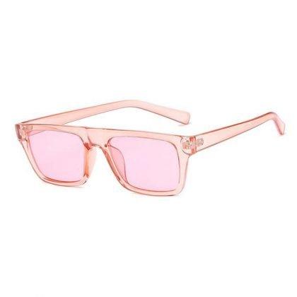 Rosa klassiska fyrkantiga solglasögon i retrostil