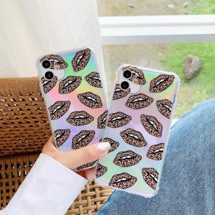 Mobilskal till iPhone11 Pro neonfärg med mun leopardmönster