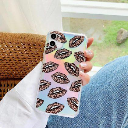 Mobilskal till iPhone11 neonfärg med mun leopardmönster