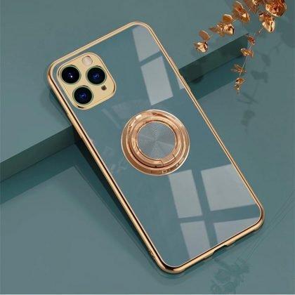 Lyxigt Stilrent skal Phone11 Pro med ring ställ-funktion Guld