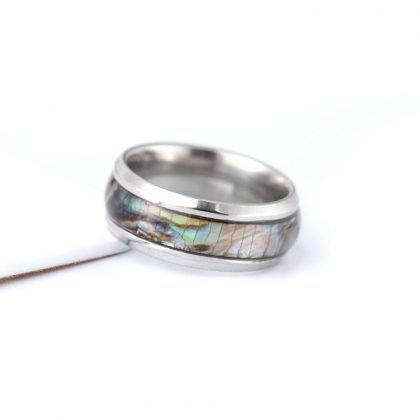Guldpläterad ring med pärlemor till män