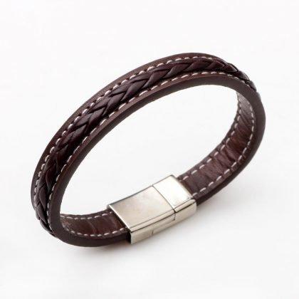 Armband i läder och metallspänne till män
