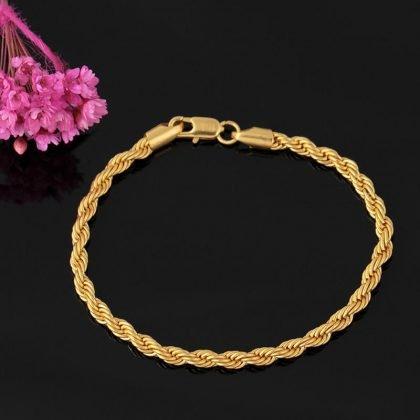 Lyxigt armband kedja i 18 karat guldplätering gåva
