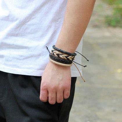Handgjorda läderarmband set á 4 stk för män hipster