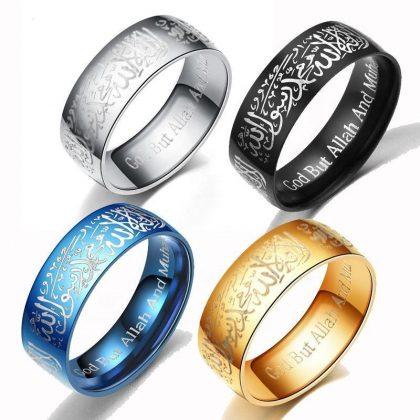Islamisk ring i stål med kalima muslim svart, silver, guld