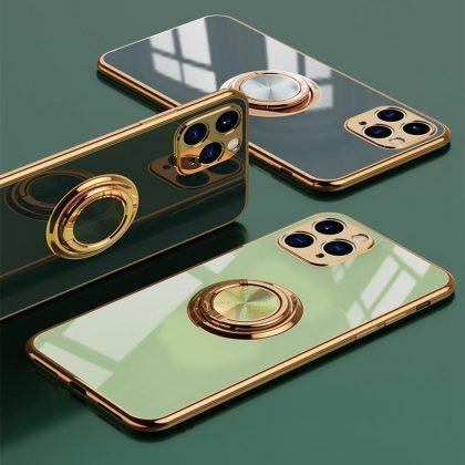 Lyxigt Stilrent Mobilskal Phone11 Pro Max med ring ställ-funktion Guld