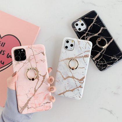 Mobilskal till iPhone 11 i lyxigt marmormönster + ring