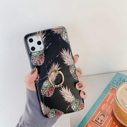 Svart marmorskal iPhone11 PRO + ananas + ring