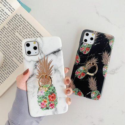 Svart marmorskal iPhone11 Pro Max + ananas + ring